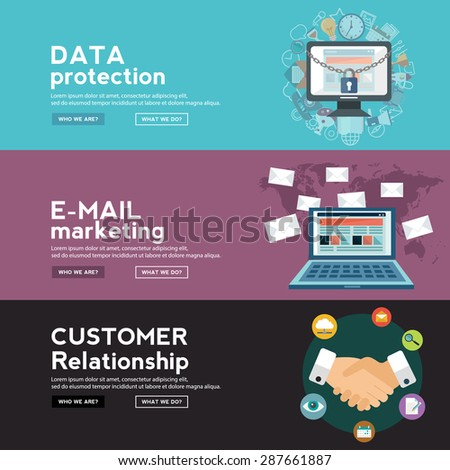 Data protection, E Mail marketing and costumer relation. web banners - stock vector