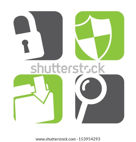 data protection icons over white background vector illustration  - stock vector