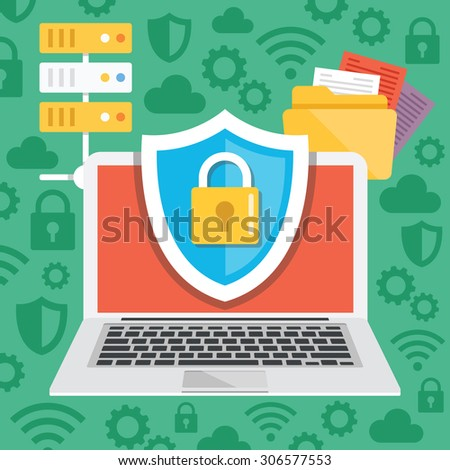 Data protection, internet security flat illustration concepts. Modern flat design concepts for web banners, web sites, printed materials, infographics. Creative vector illustration - stock vector
