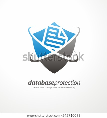 Data protection symbol concept. Social network security. Database and shield vector icon template. - stock vector