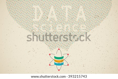 Data science and communication concept with flow of information and DATA SCIENCE wording. - stock vector