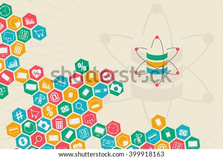 Data science and information communication concept with database and flow of gadgets on colorful hive connection. - stock vector