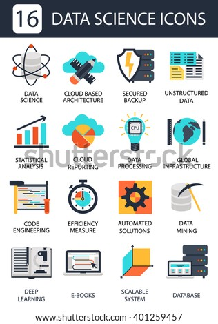 Data science icons - stock vector