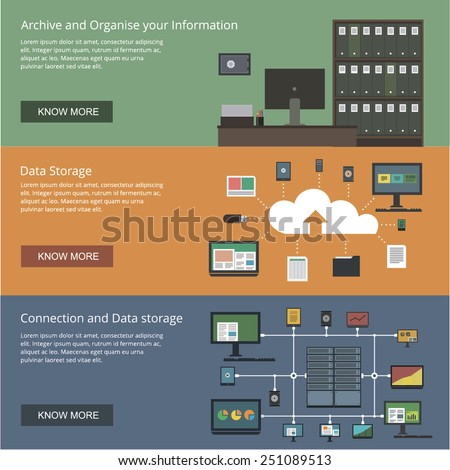 Data storage and organizing banners for websites flat design style - stock vector