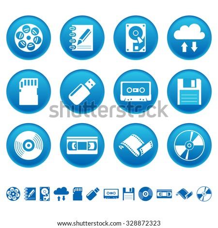 Data storage icons - stock vector