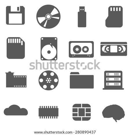 Data storage set Icon - stock vector
