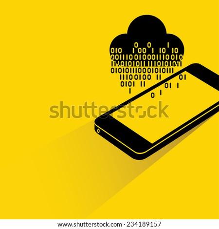 data stream, big data analysis, cloud computing on smart phone concept - stock vector