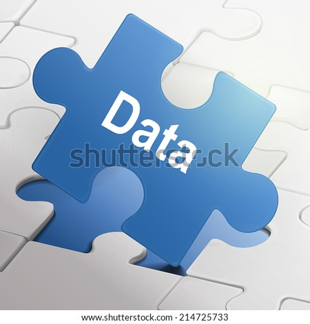data word on blue puzzle pieces background - stock vector