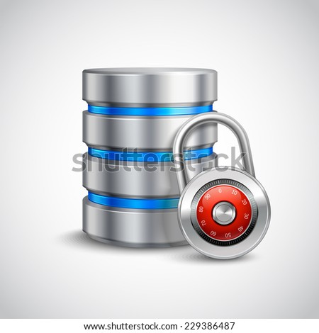 Database 3d with closed padlock isolated on white background safe storage concept vector illustration - stock vector