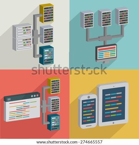 Database,Data server,flat icons design,clean vector - stock vector