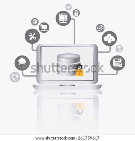 Database design over white background, vector illustration. - stock vector