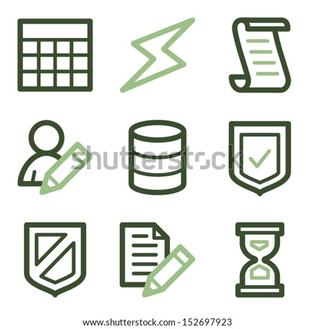 Database icons, green line contour series - stock vector