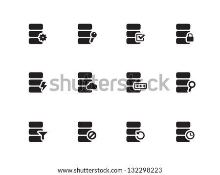 Database icons on white background. Vector illustration. - stock vector