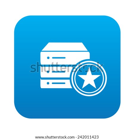 Database on blue button,clean vector - stock vector