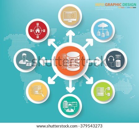Database server and network concept info graphics design,clean vector - stock vector