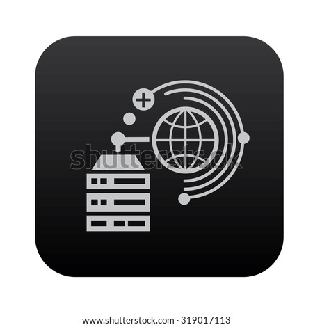 Database server and network on black button blackboard,vector - stock vector