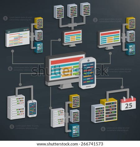 Database server and software,technology on blackboard background,clean vector - stock vector
