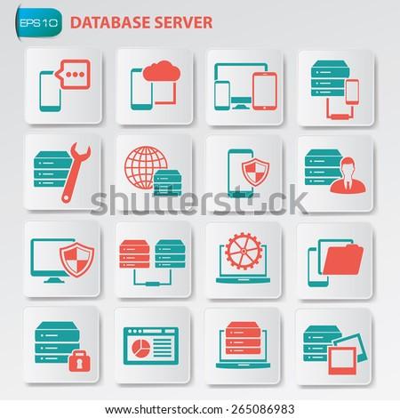Database server icon set on button, clean vector - stock vector