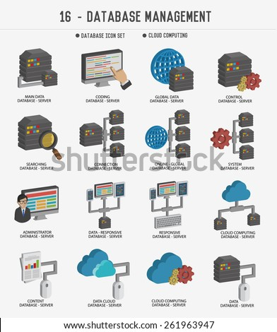 Database server,Networking management,Cloud computing icon set,clean vector - stock vector