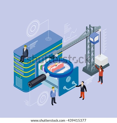 Database storage server. Flat 3d isometric vector. Businessman put in document drawer folder in cloud-shaped cabinet. Crane lowers a folder to the archive. Futuristic virtual graphic user interface. - stock vector