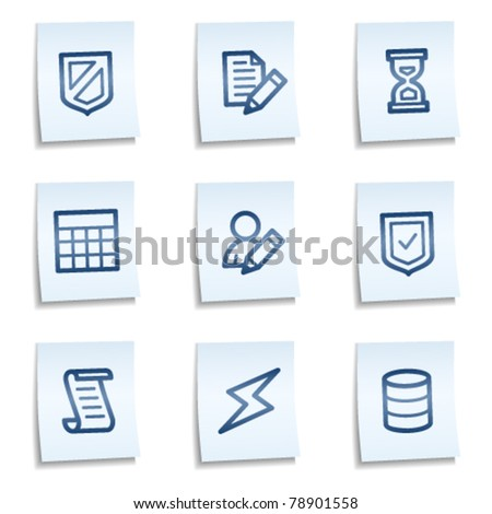 Database web icons, blue notes - stock vector