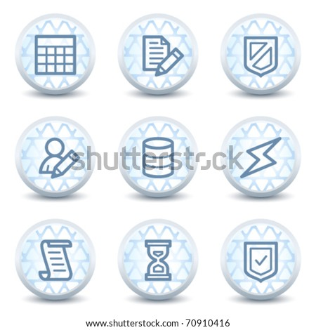 Database web icons, glossy circle buttons - stock vector