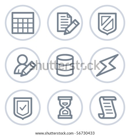 Database web icons, white circle series - stock vector