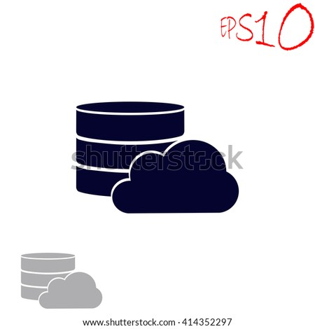 Database with cloud icon. Database with cloud vector. Database with cloud illustration. Database with cloud icon logo. Database with cloud icon Eps10. Database with cloud icon web. - stock vector