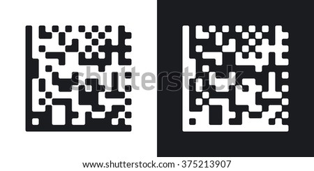 Datamatrix vector icon. Two-tone version on black and white background - stock vector