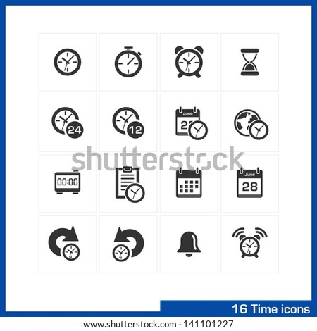 Date and time icons set. Vector black pictograms for business, management, web, internet, computer and mobile apps, interface design: clock, alarm, bell, calendar, reminder, organizer symbols - stock vector