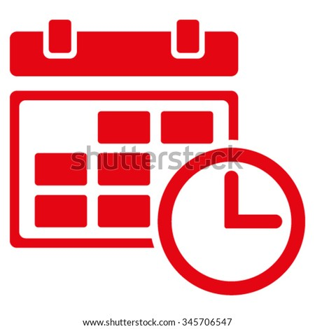 Date And Time vector icon. Style is flat symbol, red color, rounded angles, white background. - stock vector