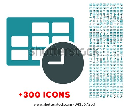 Date And Time vector icon with additional 300 date and time management pictograms. Style is bicolor flat symbols, soft blue colors, rounded angles, white background. - stock vector