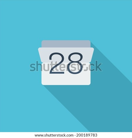 Date symbol. Vector illustration of flat color icon with long shadow.   - stock vector