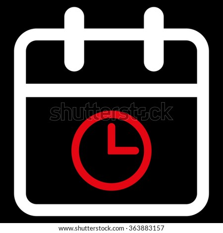 Date Time vector icon. Style is bicolor flat symbol, red and white colors, rounded angles, black background. - stock vector