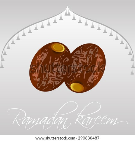 Dates isolated for ramadan kareem, background with dome. Vector Illustration - stock vector