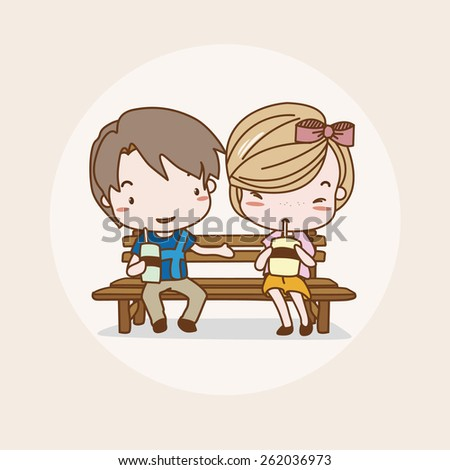 Dating Couple Isolated Vector / Image / Illustration / Drawing / Cartoon / Animation - stock vector
