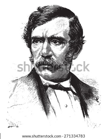 David Livingstone, vintage engraved illustration. From 15 year's old captain book from Jules Verne - 1880  - stock vector