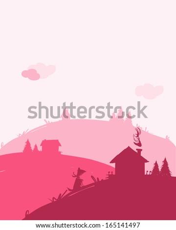 Dawn in village, landscape for your design - stock vector