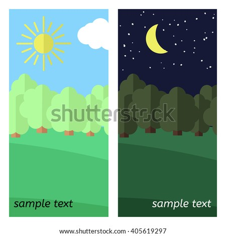Day and Night on a Clearing in the Forest. - stock vector