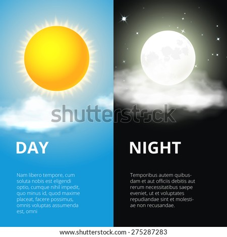 Day and night, sun and moon. Sky and weather, cloud and life, period and cycle, vector illustration - stock vector