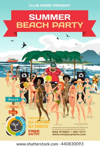 Day beach, dj with sound system, crowd women in bikinis. Vector template summer party poster. - stock vector