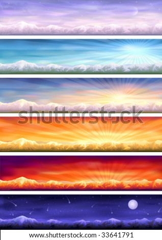 Day cycle - set of six colorful banners showing same landscape at different times of the day (other images from this series are in my gallery) - stock vector