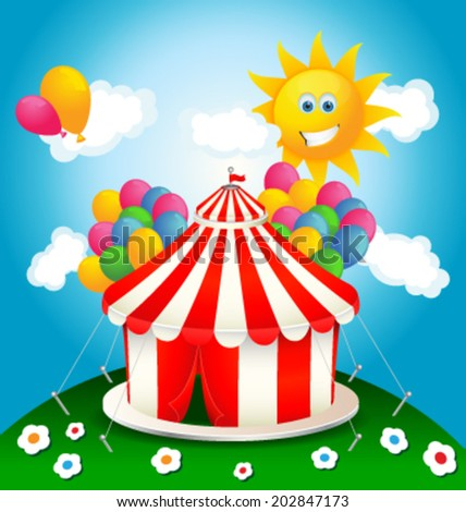 Day for circus, vector illustration - stock vector