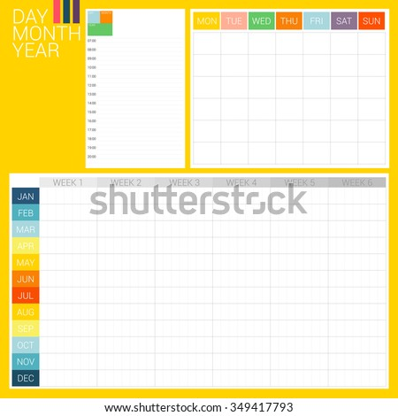 DAY MONTH YEAR 3 types of planner, day planner, month planner and year plan, they are designed in simply style with clean and clear style. These planner formats are ready to use for every year. - stock vector