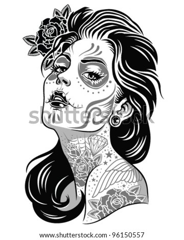 Day of dead girl black and white illustration - stock vector