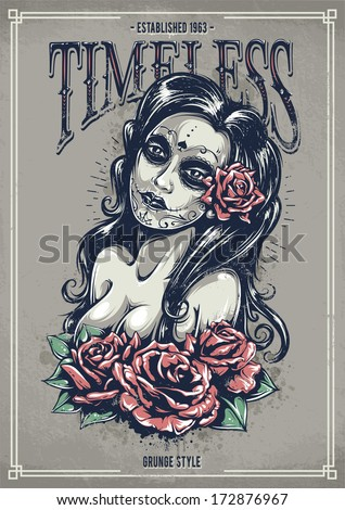Day of dead sexy girl with roses. Grunge poster. Vintage print. Vector illustration. - stock vector
