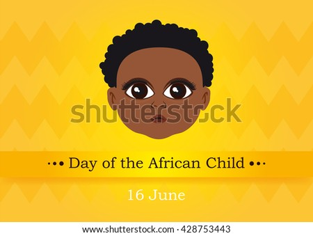 Day of the African Child vector. Cute baby face. Vector illustration - stock vector