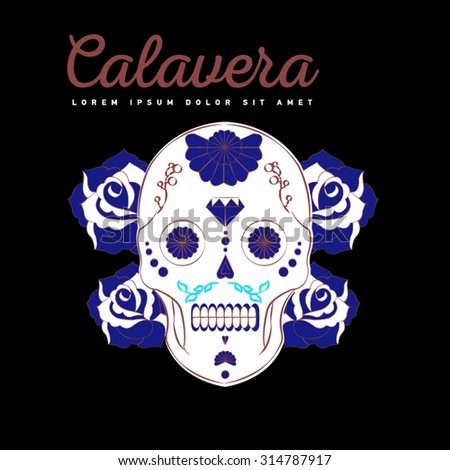 Day of the dead colorful vector illustration. Mexican sugar skull. Calavera. Halloween. Print fo T-shirt, textill or paper. Symbol of death. Tattoo - stock vector