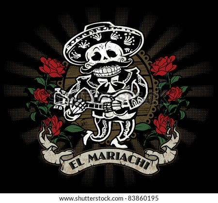 Day of the Dead Mariachi Skeleton - stock vector