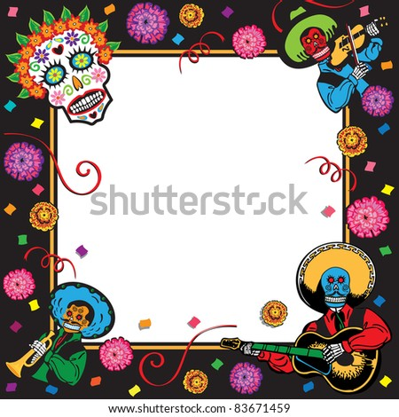 Day of the Dead or Cinco de Mayo Party Invitation - stock vector